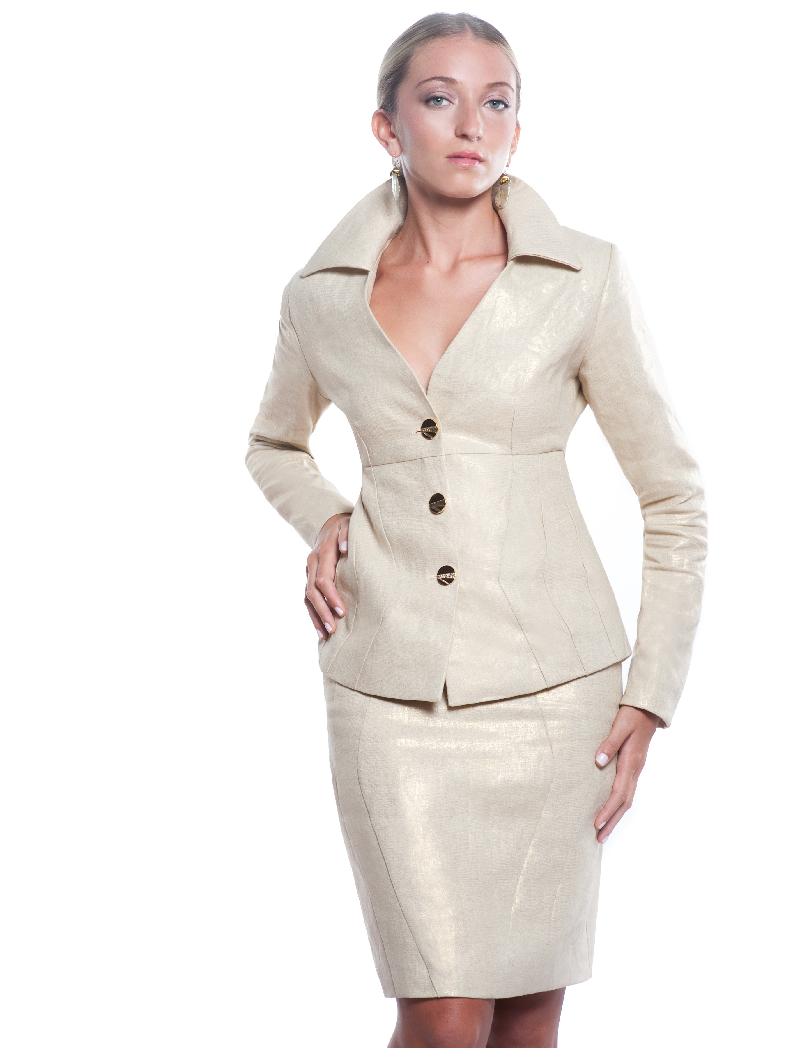 Metallic Linen Suit