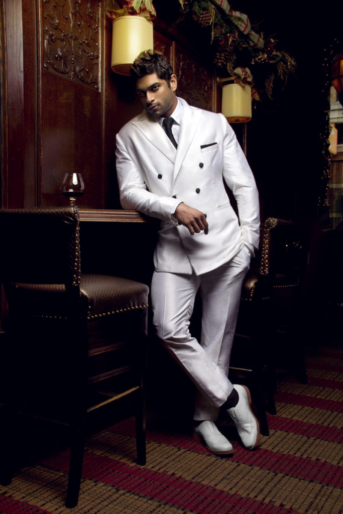 Men's white silk suit by Cajena Couture